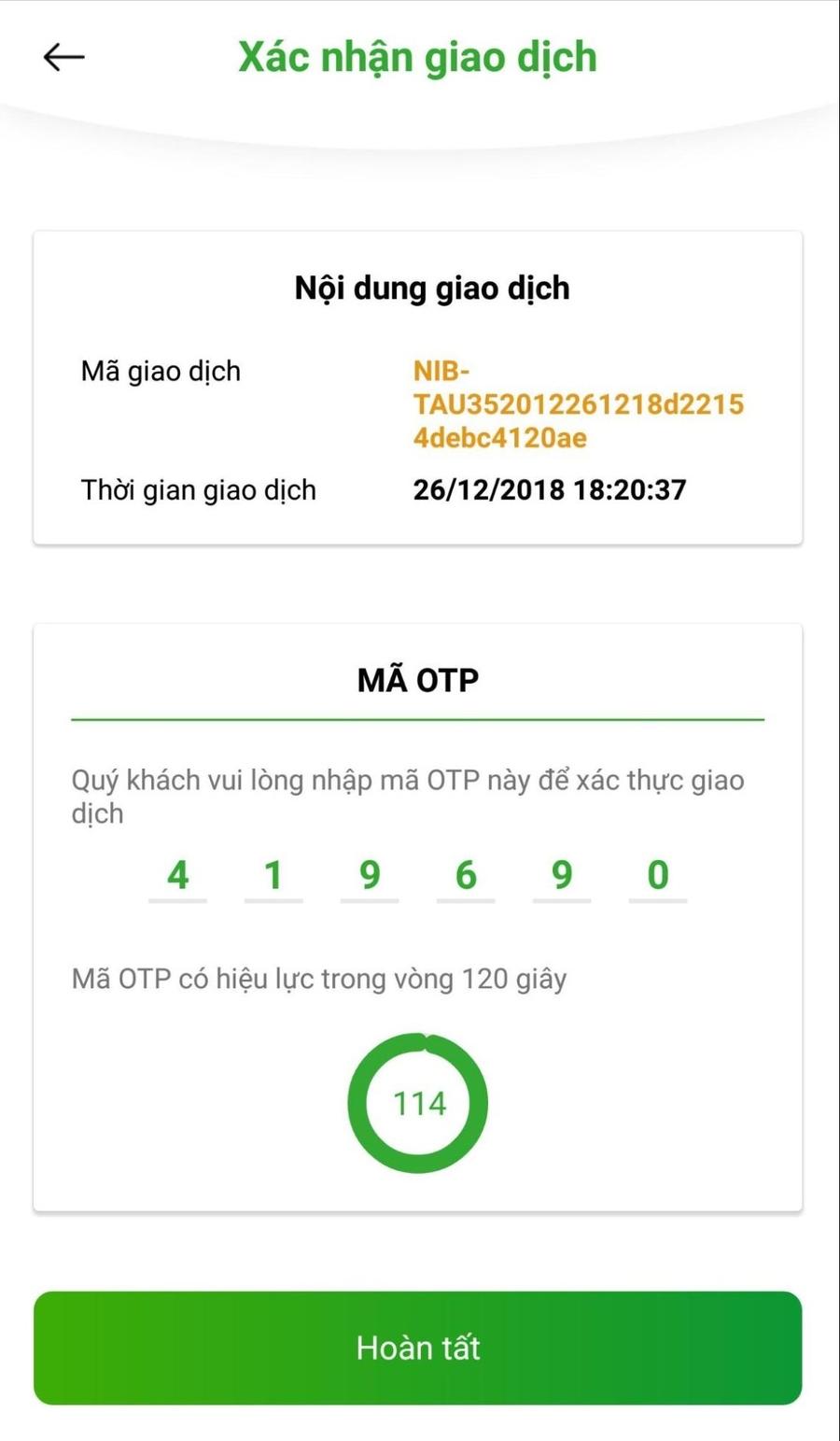 Mã OTP dùng để xác thực giao dịch.