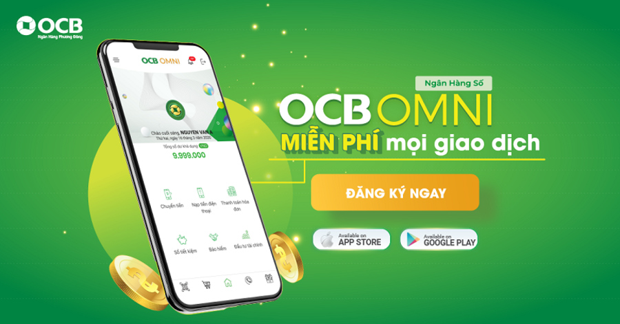 Nạp tiền điện thoại online qua tài khoản ngân hàng OCB - Ứng dụng OCB OMNI.