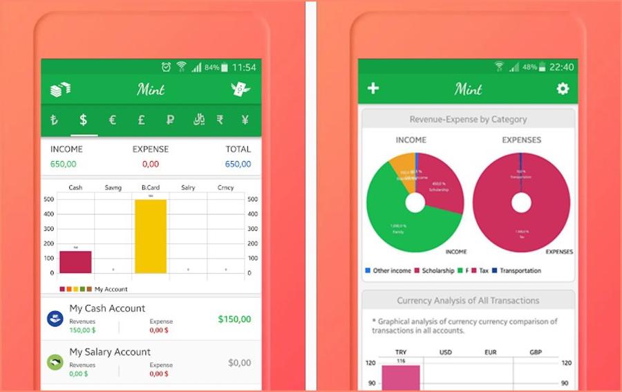 App Mint với giao diện đơn giản, dễ sử dụng.