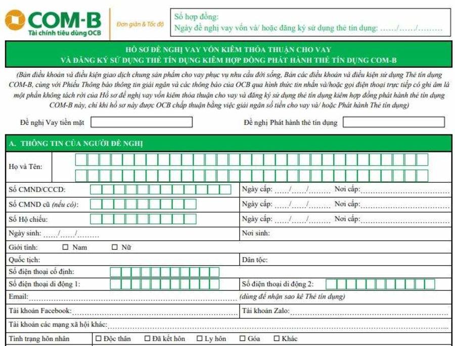 Form mẫu đề nghị được vay vốn.