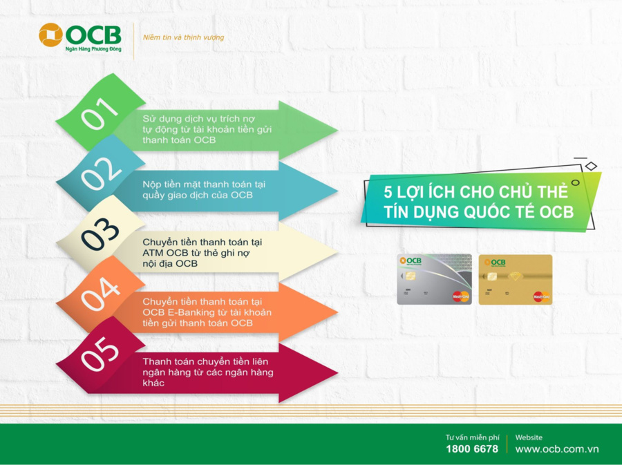 Ưu đãi tuyệt vời khi sử dụng thẻ tín dụng Quốc Tế OCB.